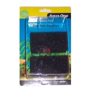 Aqua One ( 26s ) Filter Sponge Foam Triple Pack