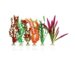 Aqua One 30cm Plastic Plant Set 6pk  Mixed  24239